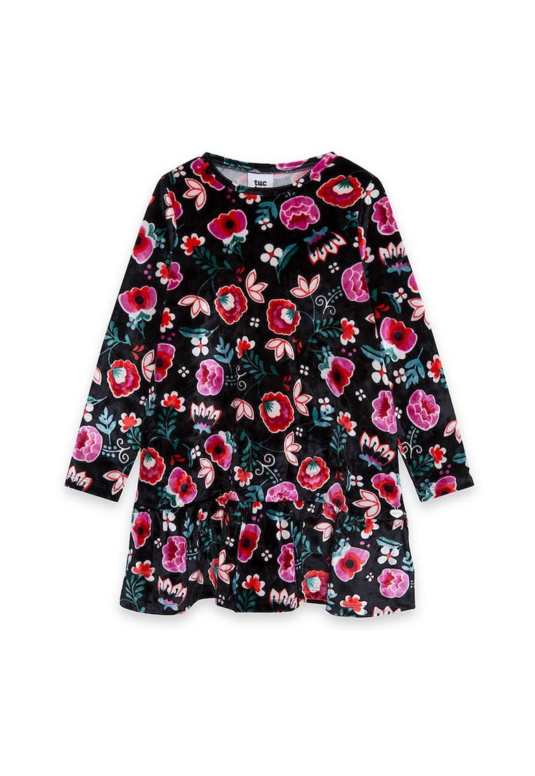 Rochie cu imprimeu floral si terminatie cu volane Tuc-Tuc