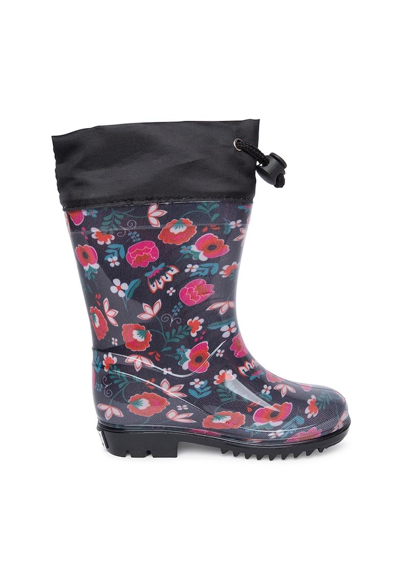 Cizme mid-calf de ploaie cu imprimeu floral si bareta ajustabila