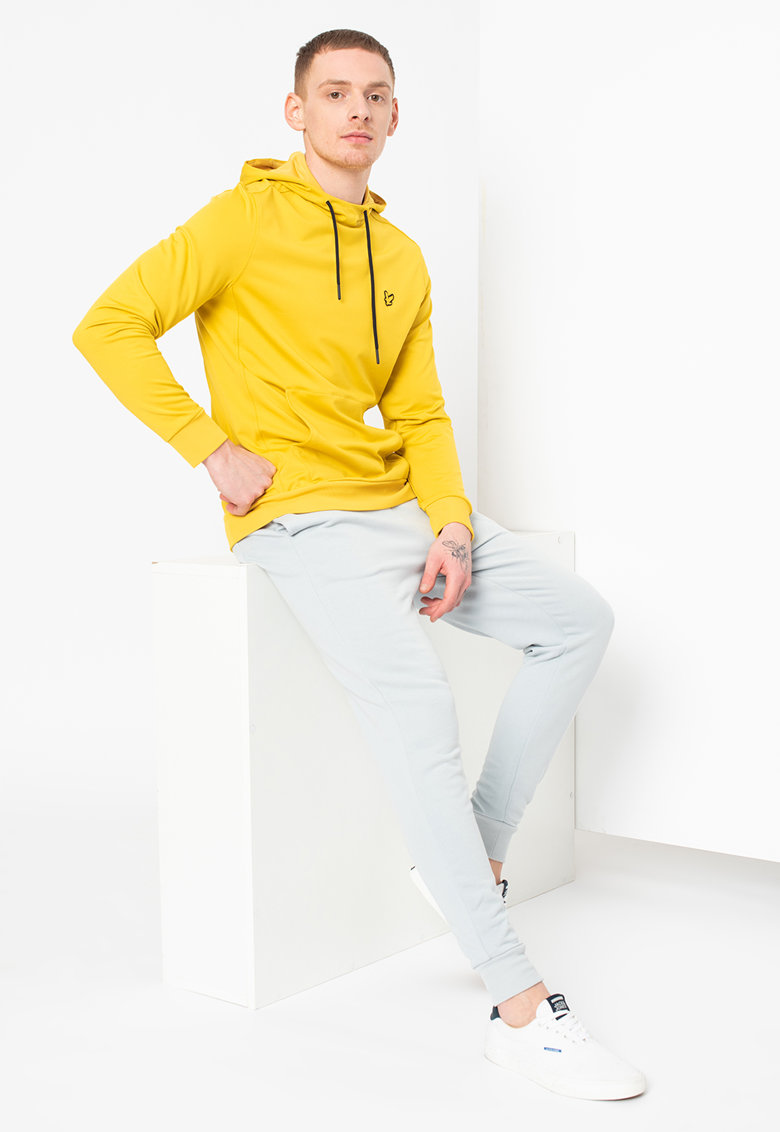 Pantaloni sport skinny cu logo brodat