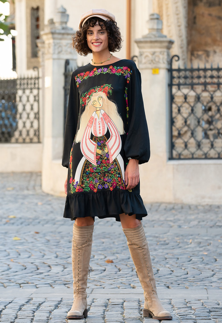 Rochie mini cu imprimeu si volane