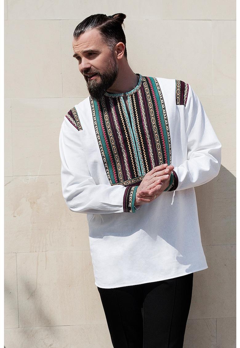 Bluza din amestec de in - cu motive etnice Etno Modern imagine