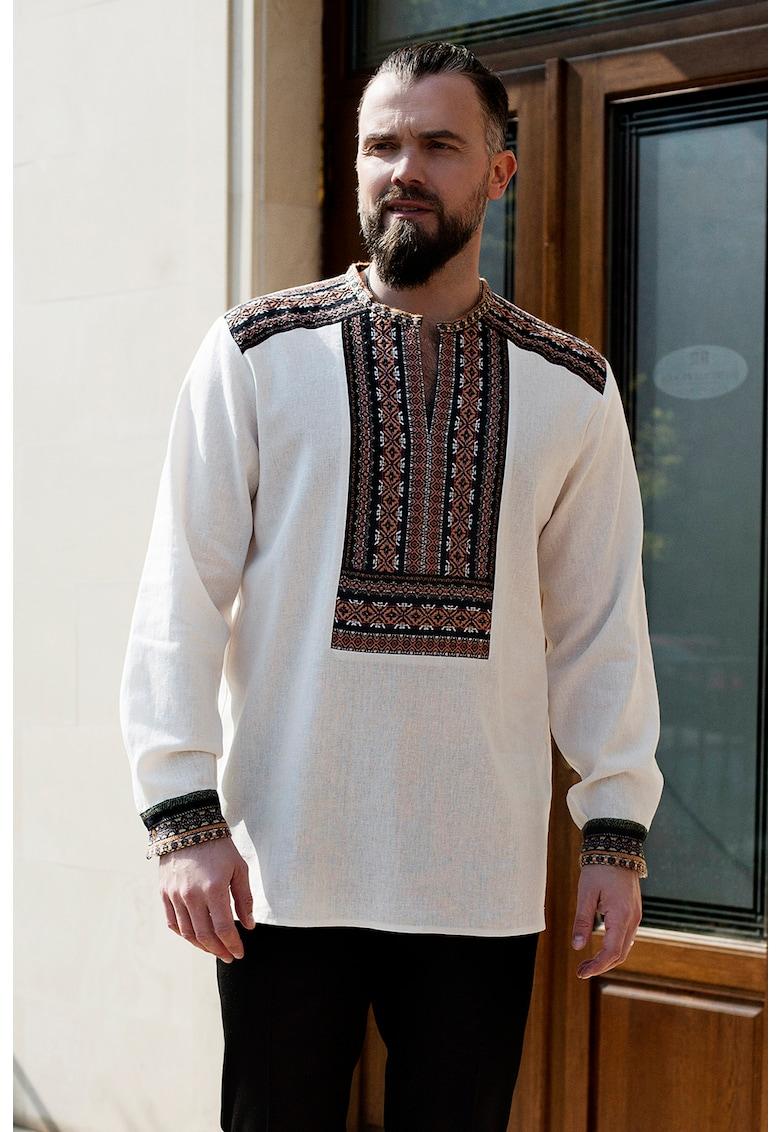 Bluza traditionala din amestec de in - cu detalii etnice Pământ imagine