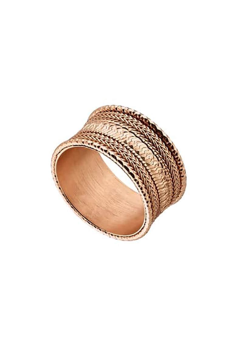 Inel de argint placat cu aur rose de 18K de la OXETTE