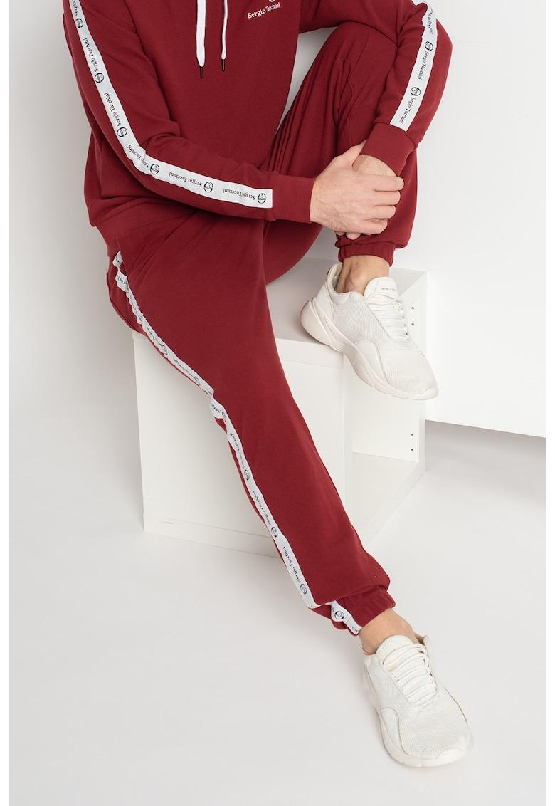 Pantaloni sport cu banda laterala cu logo Dreyan