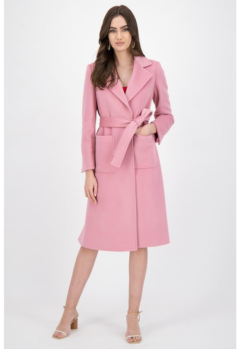 Palton din lana cu cordon detasabil in talie