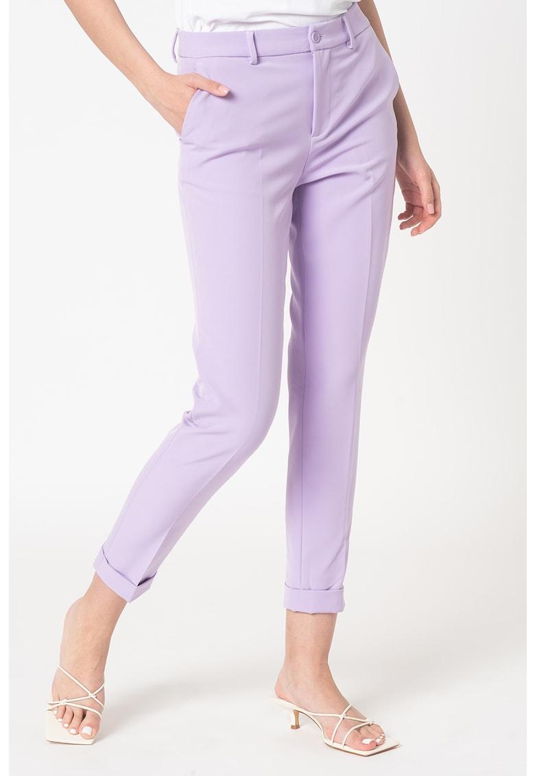 Pantaloni conici crop cu terminatie pliabila