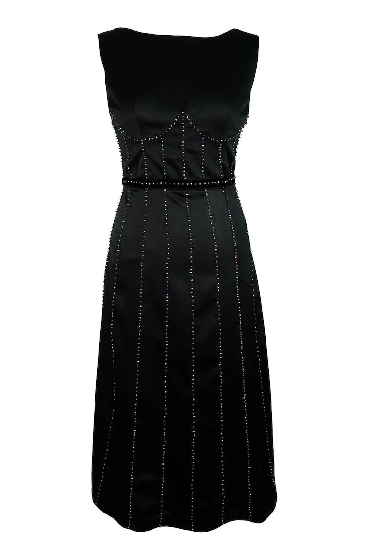 Rochie din satin cu model cu margele Giovanna