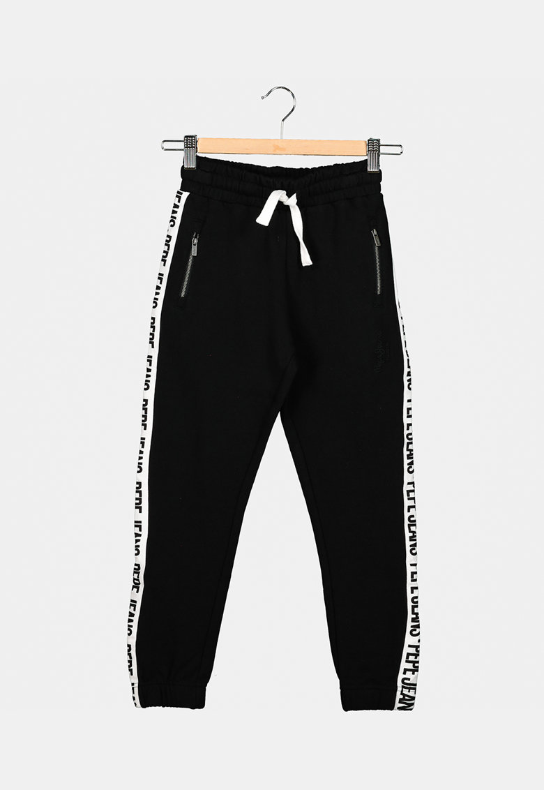 Pantaloni sport cu benzi laterale cu logo Pepe Jeans London fashiondays.ro