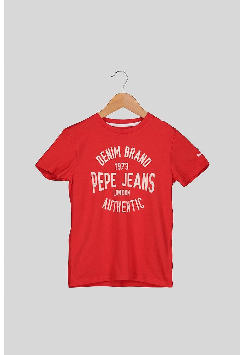 Tricou cu imprimeu logo si decolteu la baza gatului Jack imagine