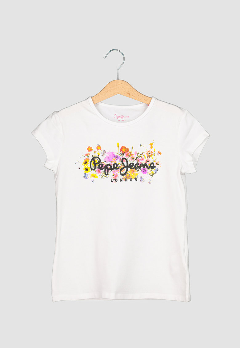 Tricou cu decolteu la baza gatului - imprimeu logo si floral Iris