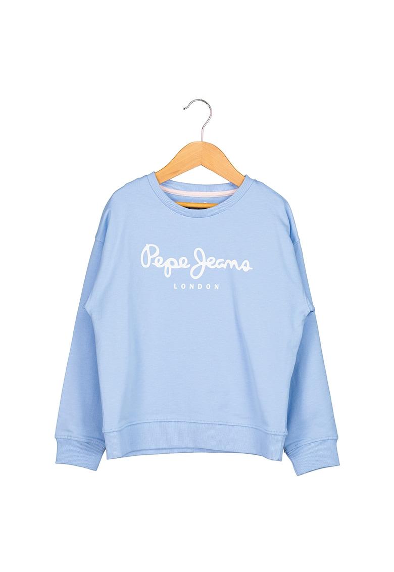 Bluza sport cu logo si decolteu la baza gatului Rose