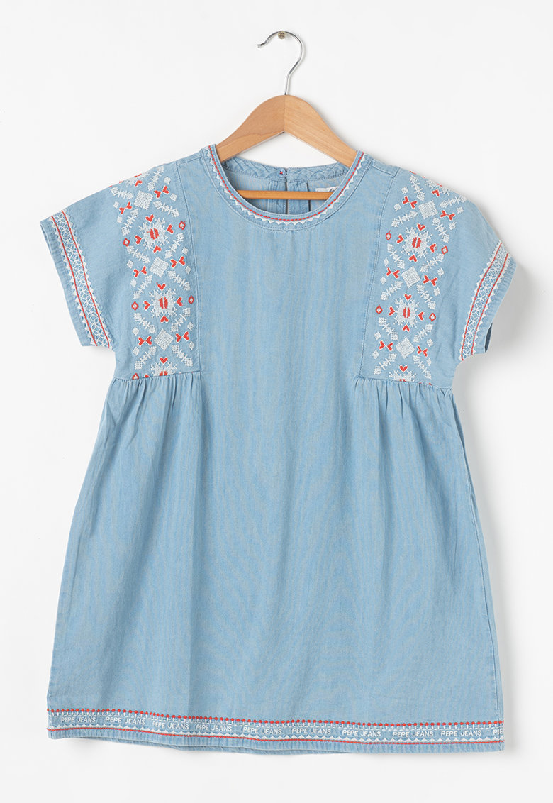 Rochie din material chambray cu croiala in A
