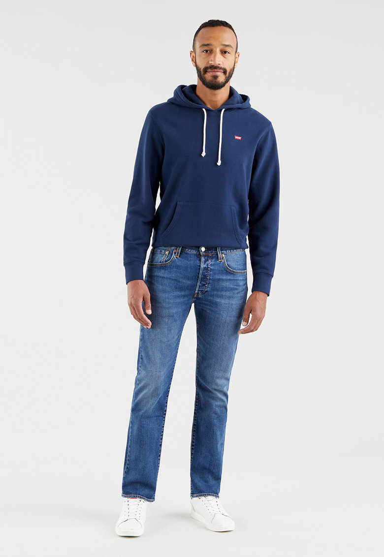 Blugi cu croiala dreapta si aspect decolorat 501® imagine fashiondays.ro Levi's