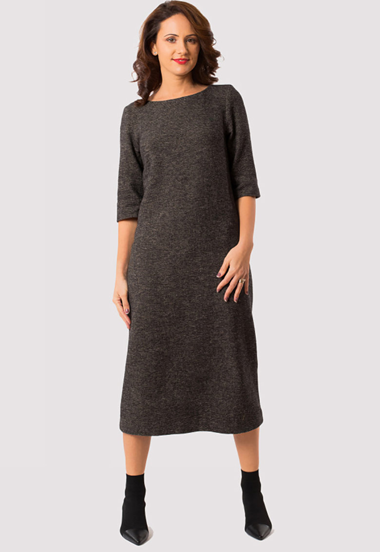 Rochie midi din amestec de lana virgina cu croiala dreapta Long Meeting imagine