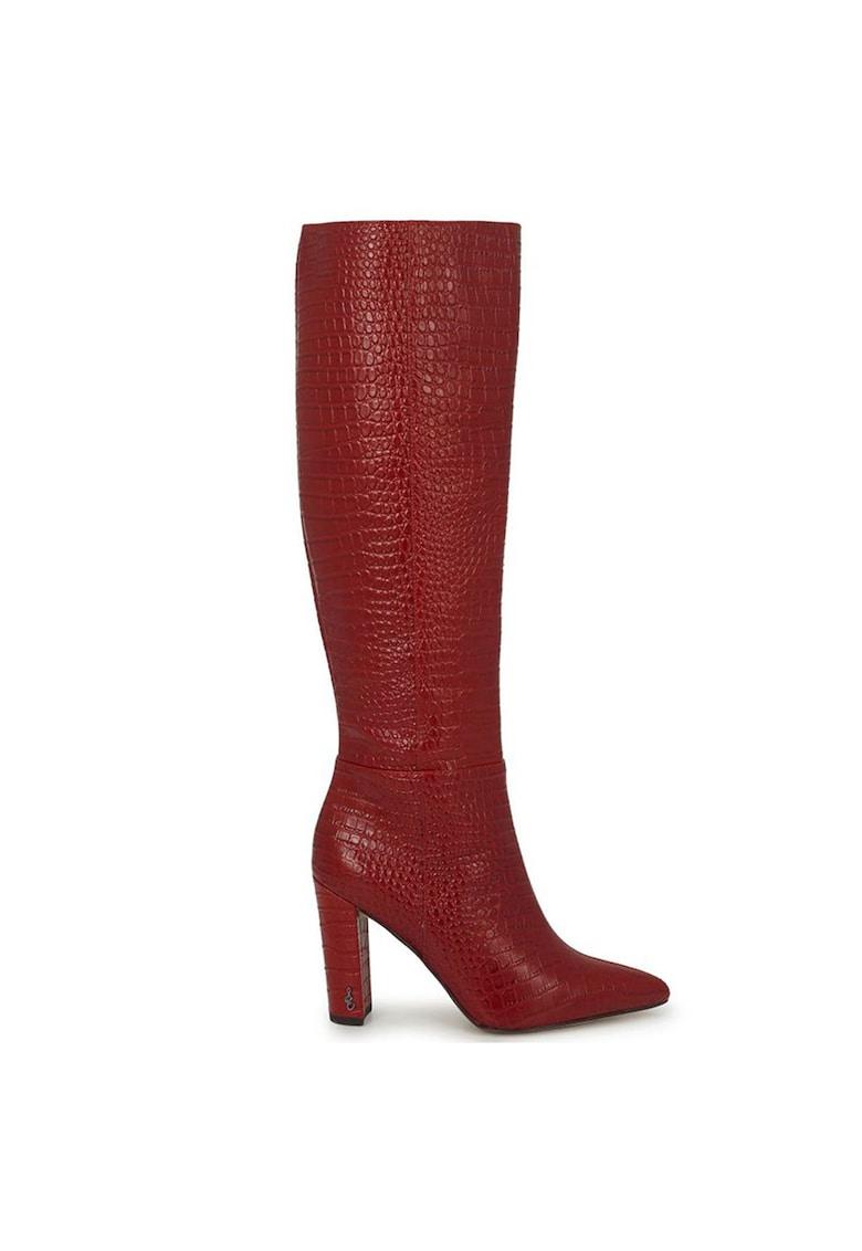 Cizme de piele - lungi pana la genunchi - cu aspect piele de reptila Raakel poza fashiondays