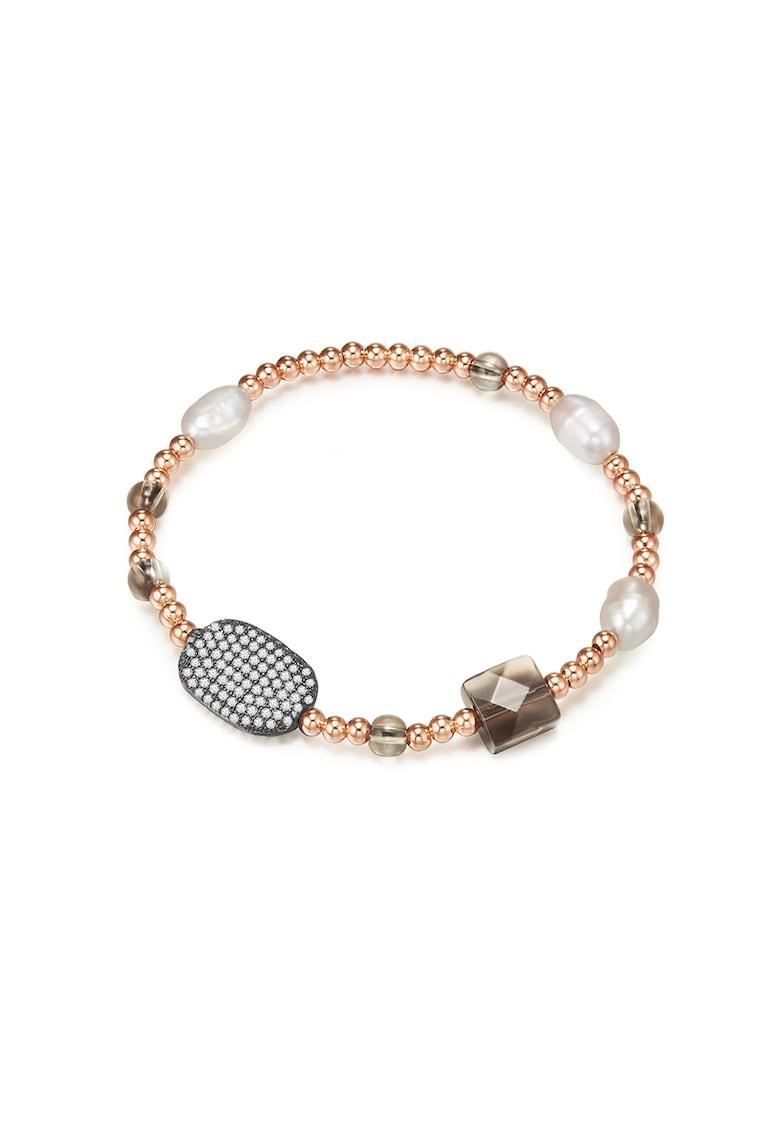 Bratara decorata cu perle sintetice si zirconia