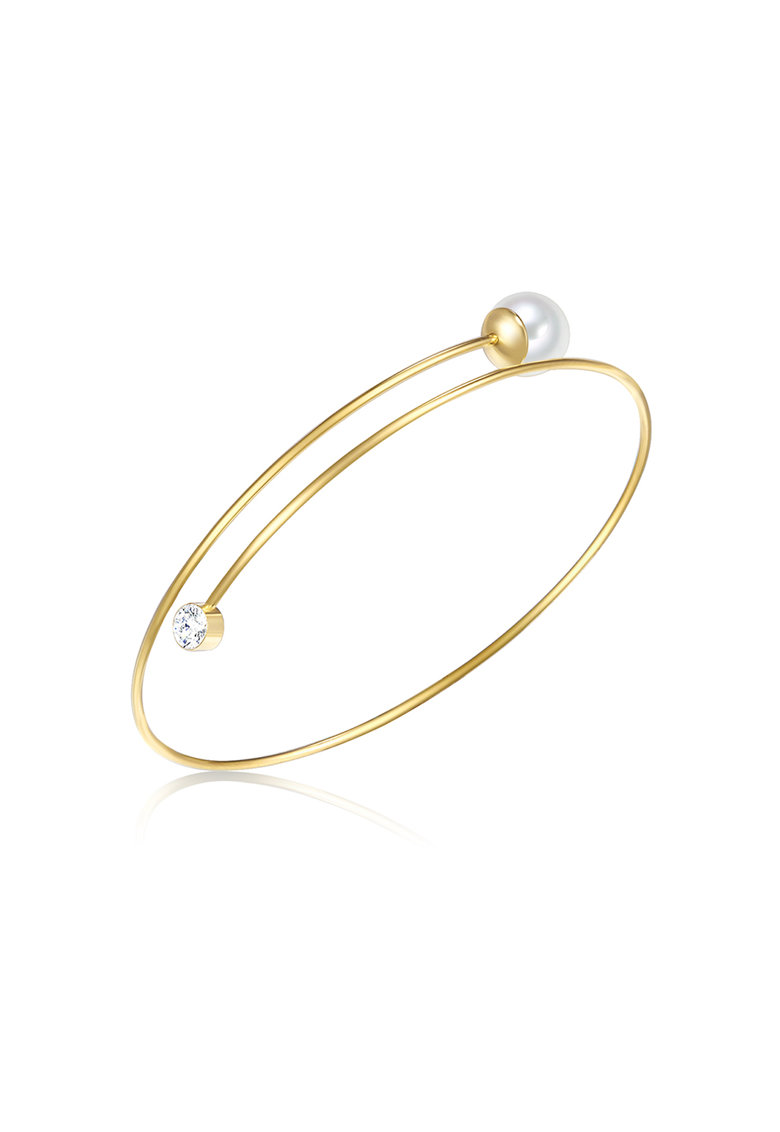 Bratara rigida placat cu aur - decorata cu perla organica si cristal poza fashiondays