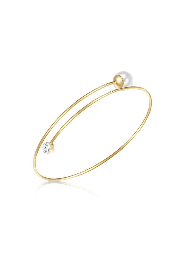 Bratara rigida placat cu aur - decorata cu perla organica si cristal imagine promotie