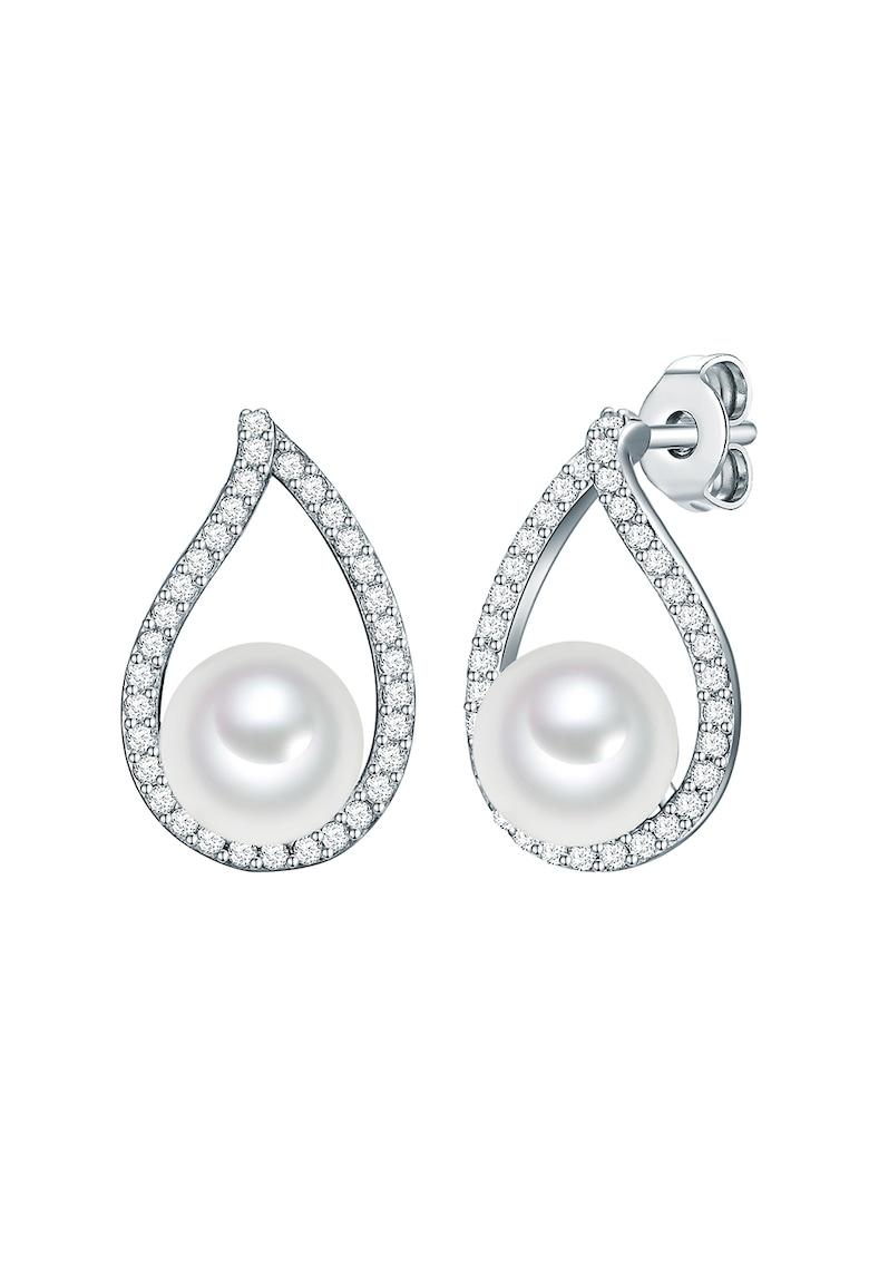 Cercei decorati cu perle sintetice si cristale zirconia imagine promotie