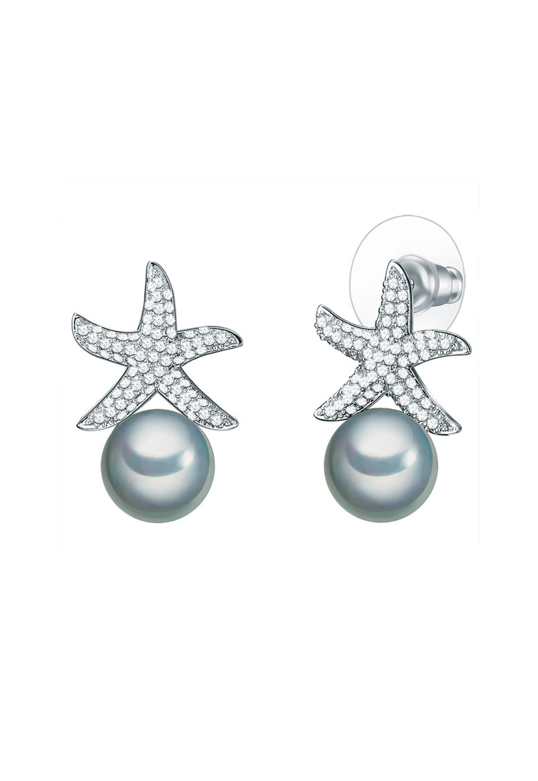 Cercei decorati cu zirconia si perle organice de la Clara Copenhagen