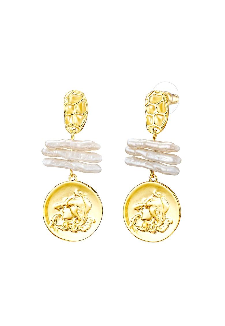 Cercei drop placati cu aur -cu perle de apa dulce de la Clara Copenhagen