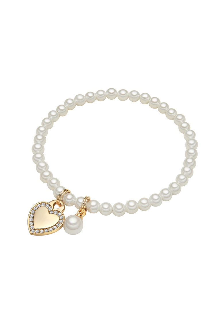 Bratara cu perla si talisman in forma de inima