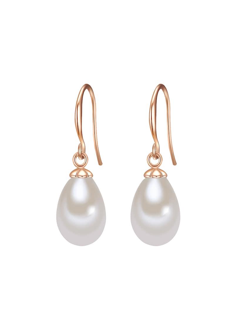 Cercei drop placati cu aur rose si perla imagine promotie