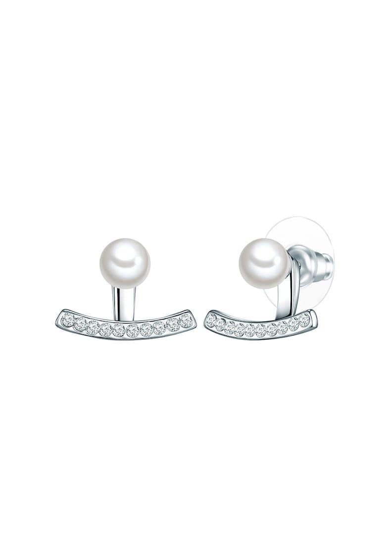 Cercei placati cu argint si decorati cu perle organice imagine promotie