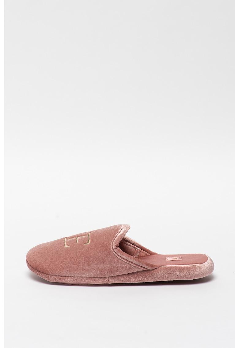 Papuci de casa - din velur - cu broderie imagine fashiondays.ro