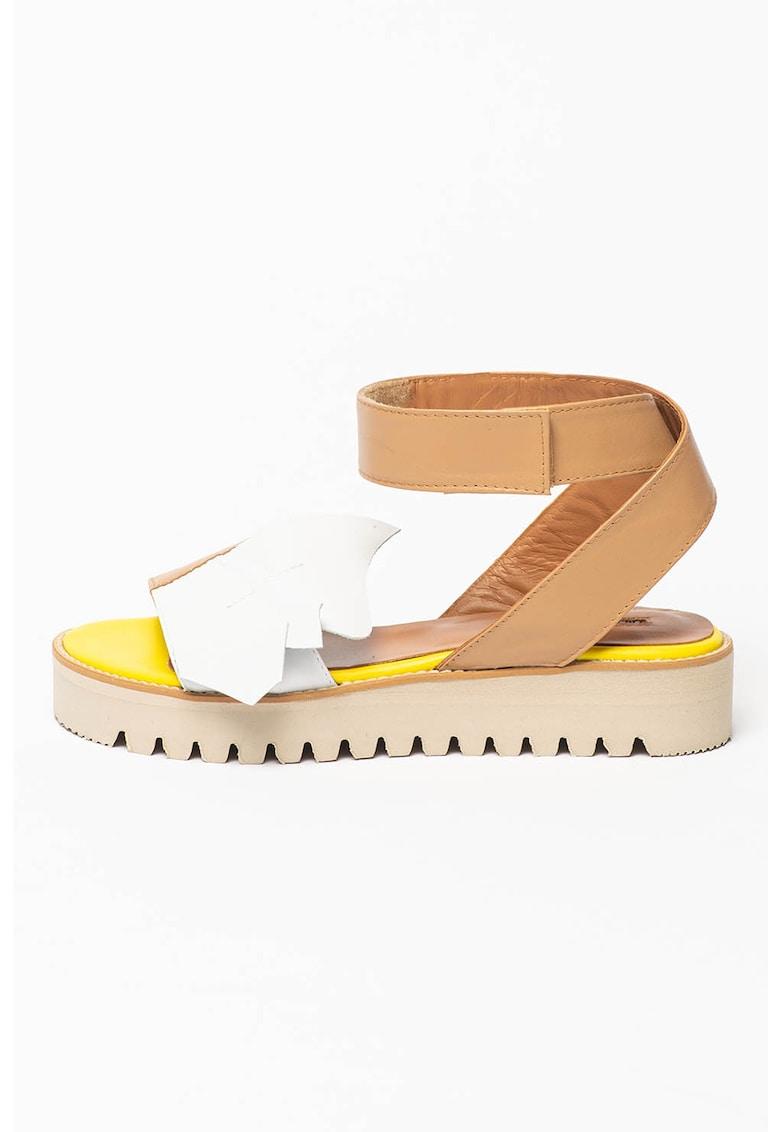 Sandale din piele cu bareta cu inchidere velcro