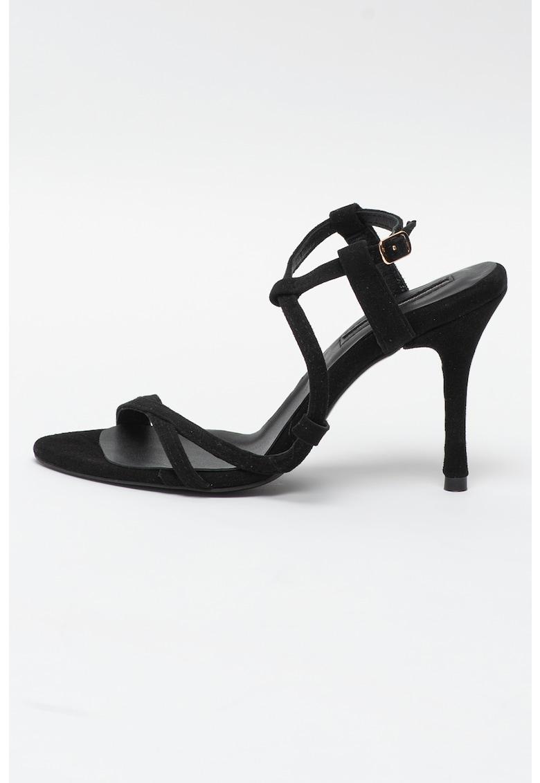 Sandale din piele intoarsa cu toc inalt