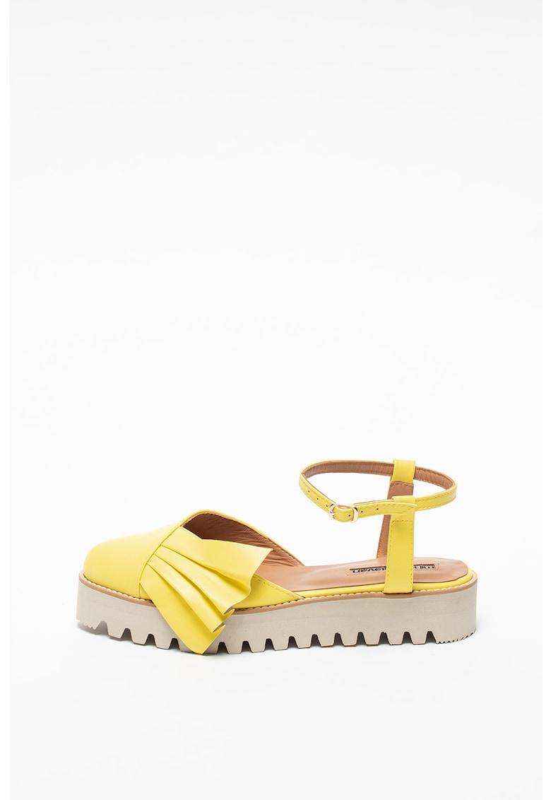 Sandale flatform din piele