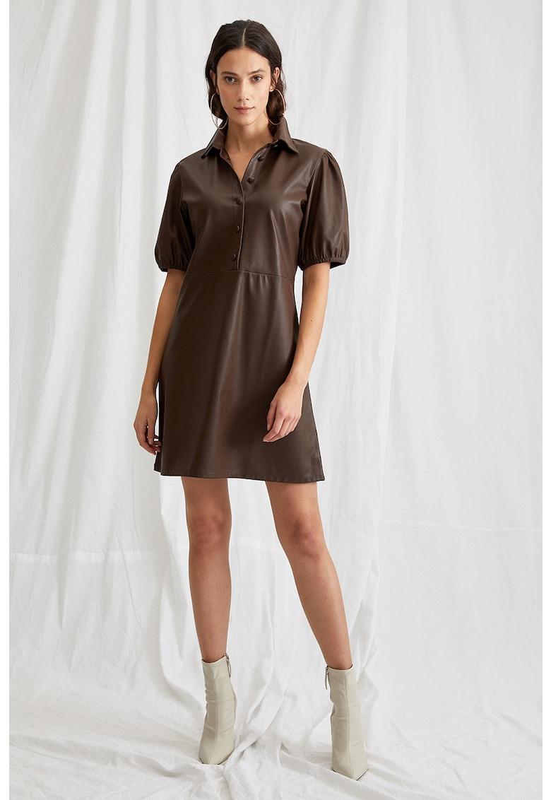 Rochie tip camasa de piele ecologica