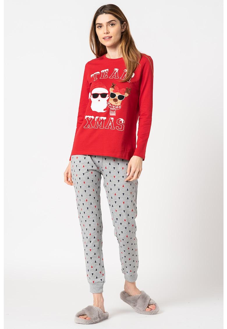 Pijama lunga cu model de Craciun poza fashiondays