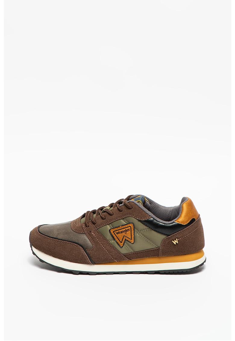 Pantofi sport de piele ecologica cu garnituri de material textil
