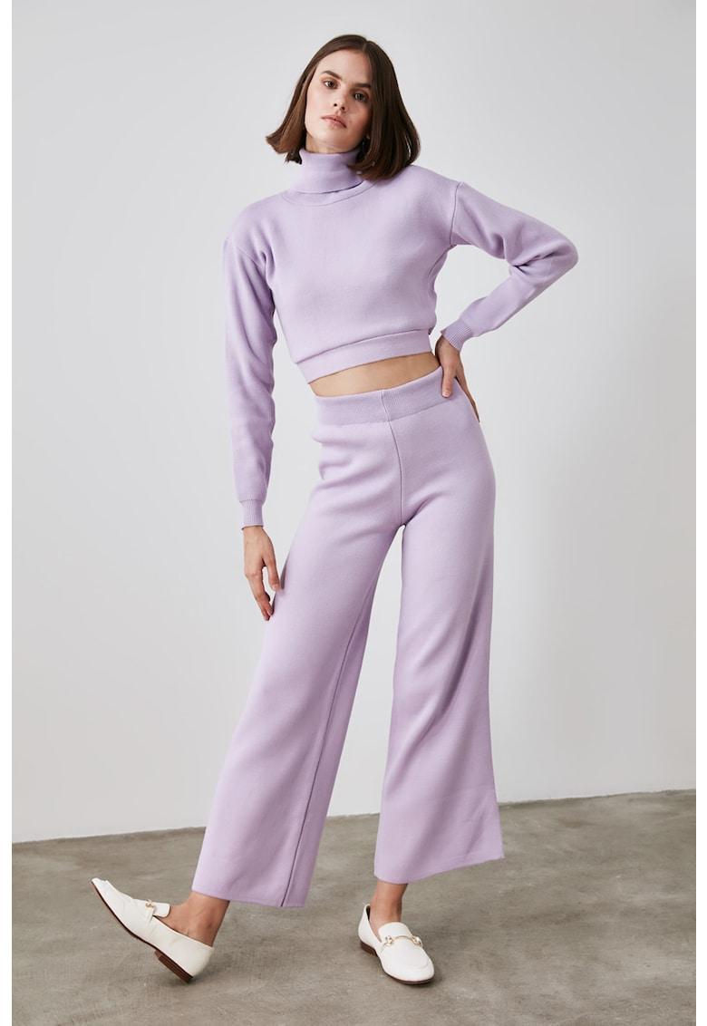 Set de pulover cu maneci cazute si pantaloni cu croiala ampla - 2 piese imagine