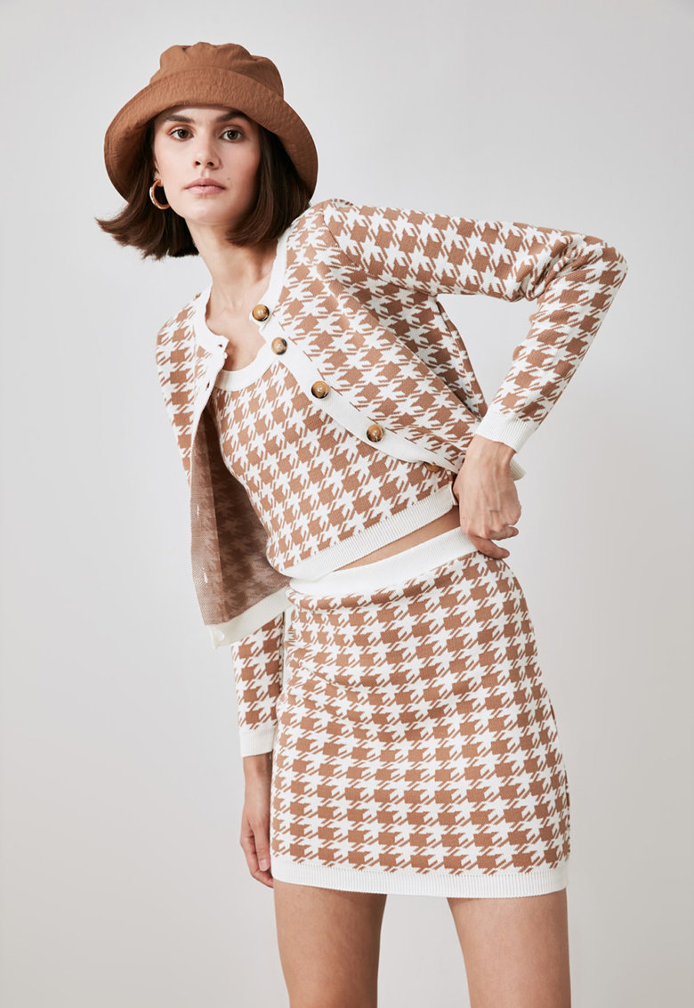 Costum cu imprimeu houndstooth imagine