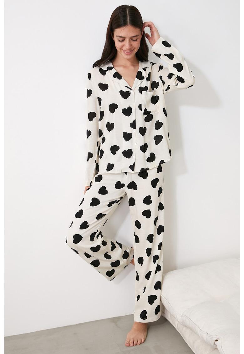 Pijama cu imprimeu cu inimi