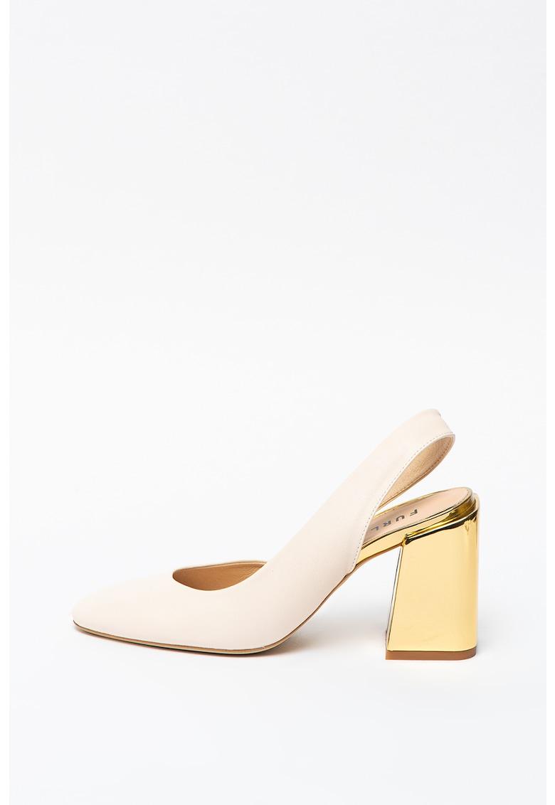 Pantofi slingback de piele cu toc masiv imagine