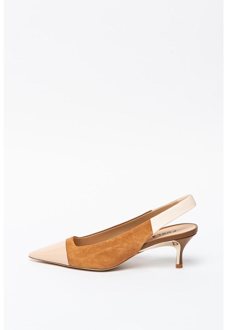 Pantofi slingback de piele si piele intoarsca cu model colorblock Code