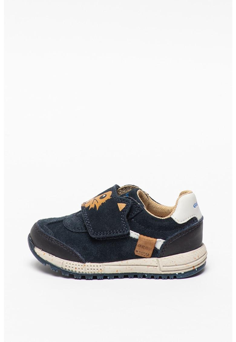 Pantofi sport de piele intoarsa ecologica cu imprimeu Alben imagine