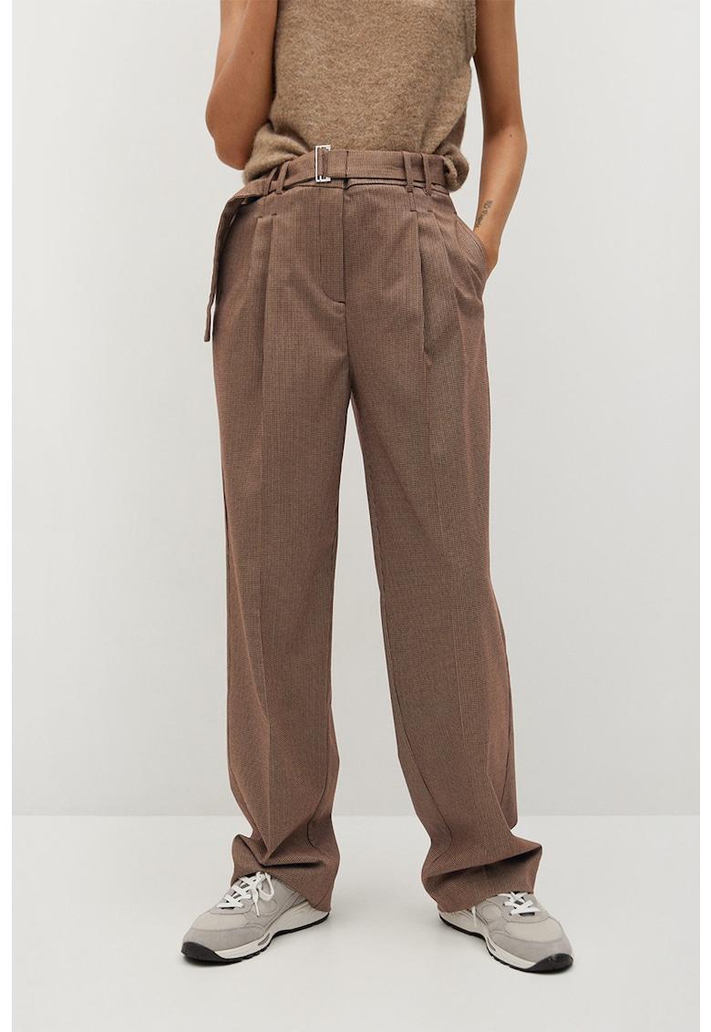 Pantaloni cu model houndstooth si pliuri Claudi de la Mango