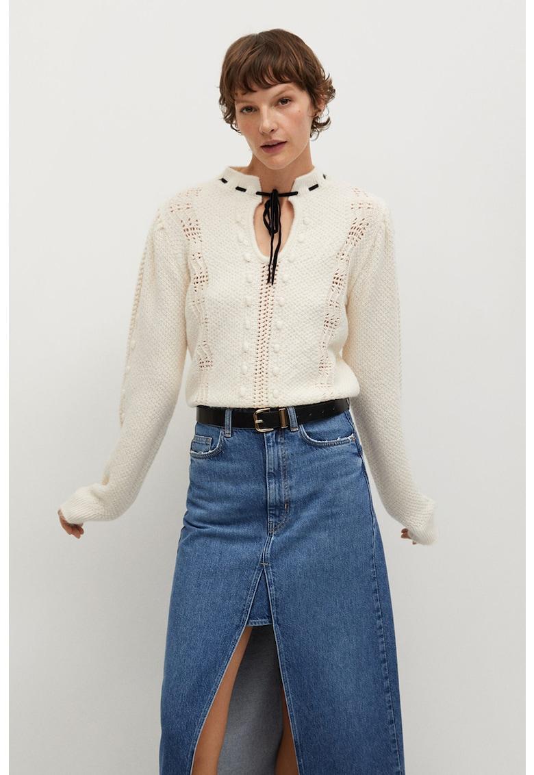 Pulover cu maneci cazute si aspect perforat Sophie poza fashiondays