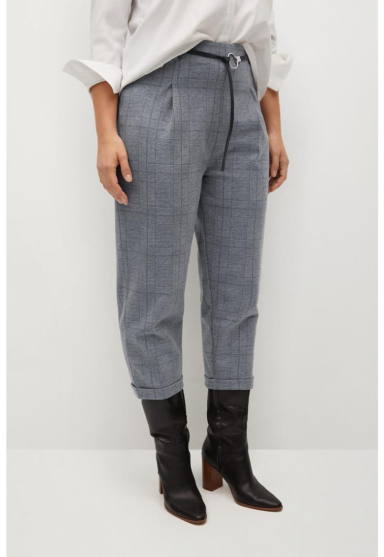 Pantaloni drepti in carouri cu talie inalta William imagine fashiondays.ro