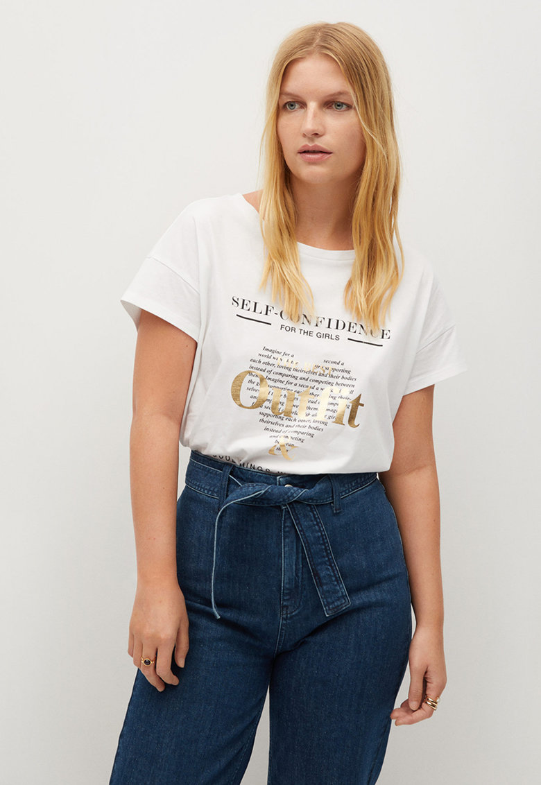 Tricou cu imprimeu text si maneci cazute Outfit imagine