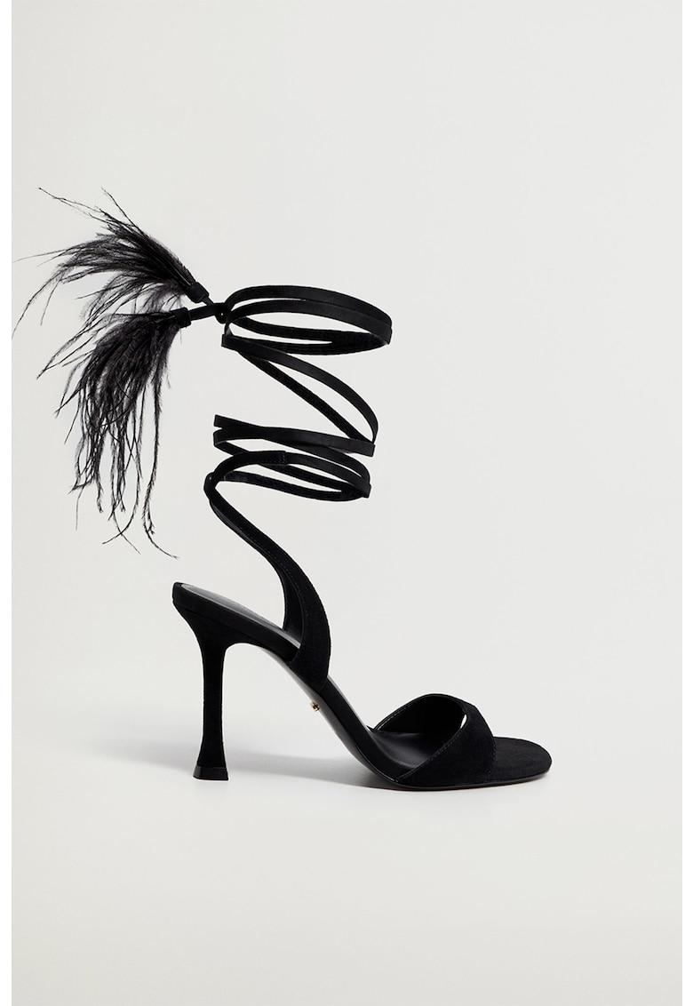 Sandale de piele intoarsa si material textil cu pene si snururi Plumas fashiondays.ro