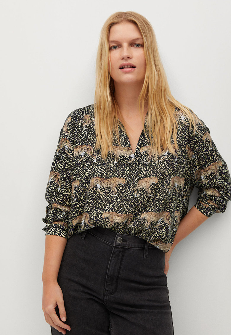 Bluza vaporoasa cu imprimeu Mao