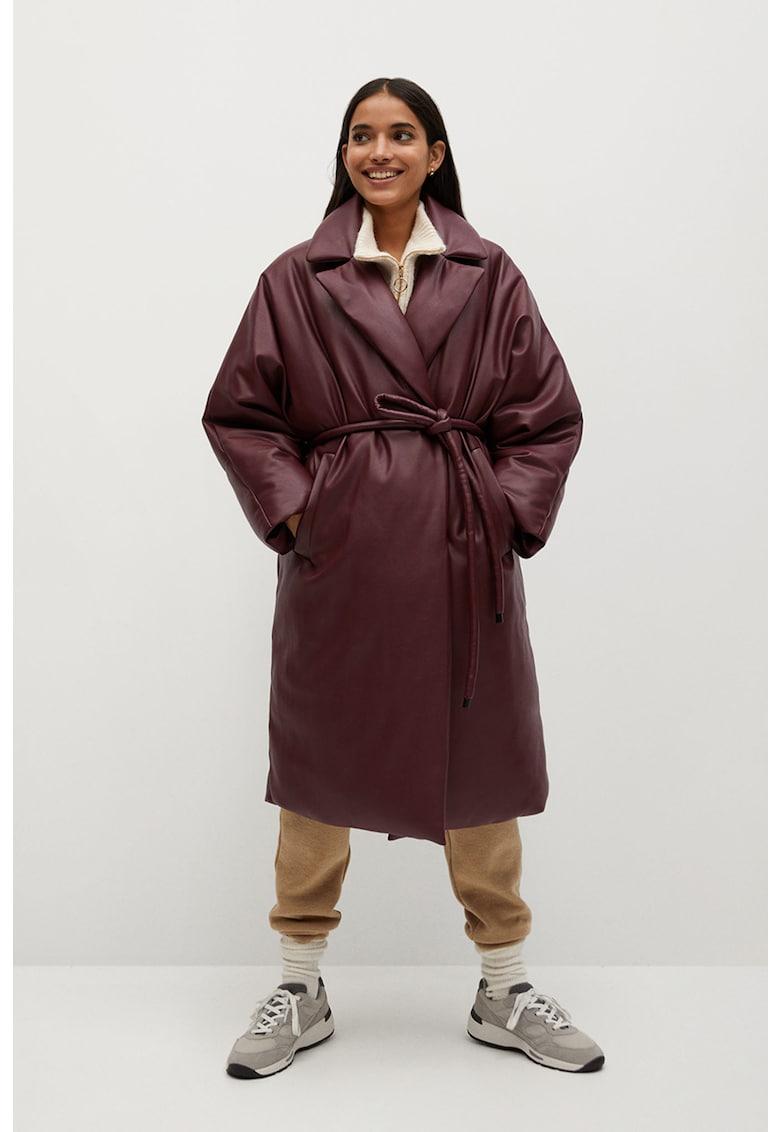 Palton supradimensionat de piele ecologica cu vatelina Ketchup poza fashiondays