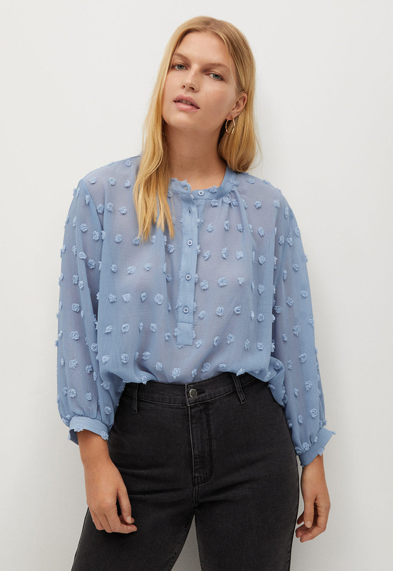 Bluza lejera cu fenta cu nasturi Emma imagine