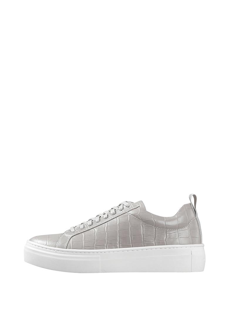 Pantofi sport flatform din piele cu aspect de piele de crocodil imagine
